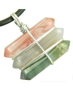 Life Power Silver Triple Lucky Amulet Crystal Point Wands Cherry Quartz Green Moss Agate Necklace