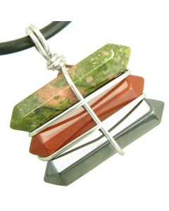 Life Power Silver Triple Lucky Amulet Crystal Point Wands Unakite Red Jasper Hematite Necklace