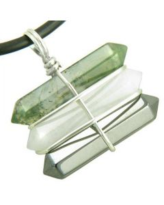 Life Power Silver Triple Lucky Amulet Crystal Point Wands Green Moss Agate Jade Hematite Necklace