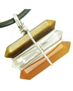 Life Power Silver Triple Lucky Amulet Crystal Point Wands Tiger Eye Quartz Carnelian Necklace