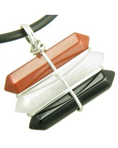 Life Power Silver Triple Lucky Amulet Crystal Point Wands Red Jasper White Jade Black Onyx Necklace
