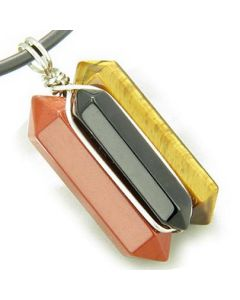 Universe Positive Energy Amulet Silver Triple Lucky Point Red Jasper Onyx Tiger Eye Necklace