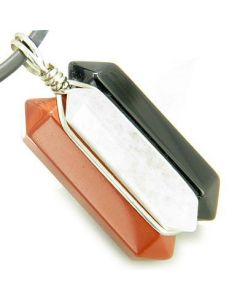 Universe Positive Energy Amulet Silver Triple Lucky Point Red Jasper White Jade Onyx Necklace