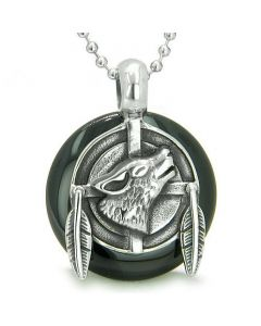 Amulet Howling Wolf Feathers Medallion Spiritual Powers Black Onyx Lucky Donut Pendant Necklace
