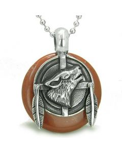 Amulet Howling Wolf Feathers Medallion Spiritual Powers Red Jasper Lucky Donut Pendant Necklace