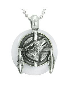 Amulet Howling Wolf Feathers Medallion Protection Powers White Jade Lucky Donut Pendant Necklace