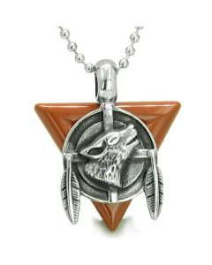 Amulet Arrowhead Howling Wolf Trinity Dreamcatcher Triangle Protection Red Jasper Pendant Necklace