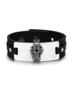 Ancient Celtic Viking Cross Protection Amulet Black Simulated Onyx Adjustable Leather Bracelet