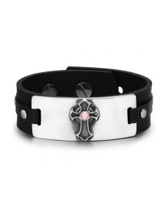 Ancient Celtic Viking Cross Protection Amulet Pink Simulated Cats Eye Adjustable Leather Bracelet