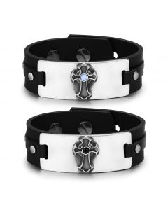 Ancient Celtic Viking Cross Amulets Love Couples Blue Simulated Cats Eye Simulated Onyx Bracelets