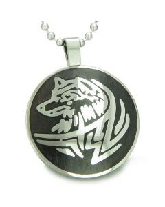 Courage and Protection Powers Wise Wolf Amulet Magic Wood Powers Amulet Circle Pendant Necklace