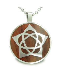 Flower of Life Wiccan Pentacle Star Amulet Magic Wood Powers Amulet Circle Pendant Necklace