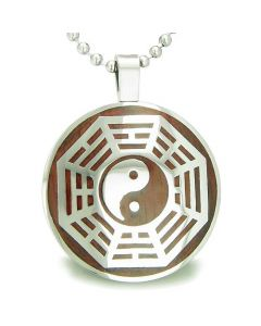 Yin Yang Eight Trigrams Amulet Magic Wood Powers Circle Pendant Necklace