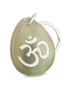 Amulet Ancient OM Tibetan Symbol Magic and Spiritual Powers Natural Agate Wish Totem Keychain Ring