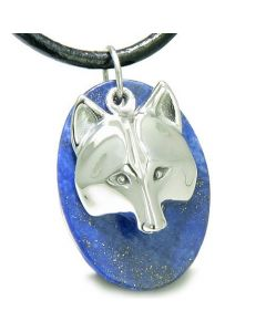 Amulet Protection Wise Wolf Mask Good Luck Powers Lapis Lazuli Gemstone Pendant Necklace