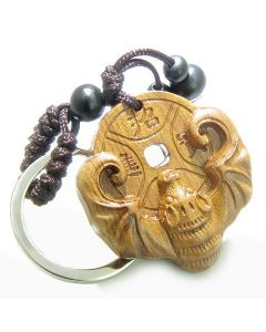 Amulet Sandal Wood Magic Bat Feng Shui Lucky Coin Fortune Good Luck Powers Keychain Charm