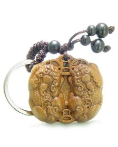Amulet Sandal Wood Magic Double Dragons Lucky Coins Feng Shui Wealth ProtectiKeychain Charm