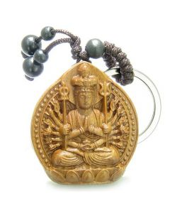 Amulet Sandal Wood Magic Kwan Yin Quan ThousMiracles Hands Feng Shui Good Luck Keychain Charm