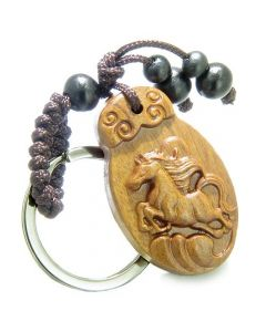Amulet Sandal Wood Magic Lucky Horse Earth Elements Feng Shui Symbol Super Powers Keychain Charm