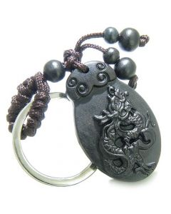Amulet Sandal Wood Magic Lucky Dragon Feng Shui Symbol Protection Super Powers Keychain Charm