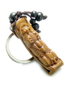 Amulet Sandal Wood Magic Lucky DragLucky Coin Feng Shui Good Luck Powers Keychain Charm