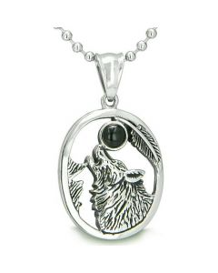 Amulet Courage Howling Wolf Black Onyx MoGemstone Lucky Charm Pendant Necklace