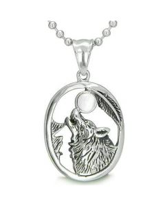 Amulet Courage Howling Wolf Black Snow White Cats Eye Gemstone Lucky Charm Pendant Necklace