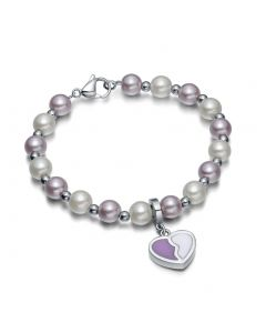 Amulet Positive Powers Simulated Pearl Purple White Heart Yin Yang Magic Energy Elegant Bracelet