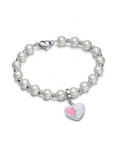 Amulet Positive Powers Simulated Pearl Snow White Pink Heart Yin Yang Magic Energy Elegant Bracelet