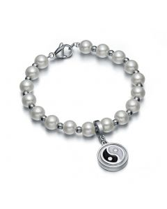 Amulet Positive Powers Simulated Pearl Snow White Yin Yang Magic Circle Energy Elegant Bracelet