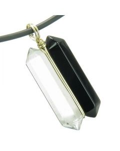 12K Gold Individual Amulet Double Wand Crystal Point Black Onyx Quartz Gemstones Pendant Necklace