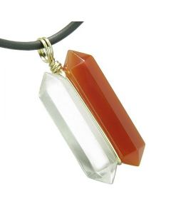 12K Gold Individual Amulet Double Wand Crystal Point Carnelian Quartz Gemstones Pendant Necklace