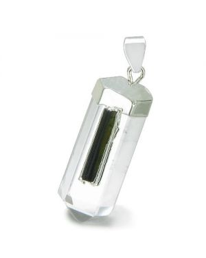 Brazilian Amulet Crystal Point Rock Quartz Rough Black Tourmaline Setting Pendant