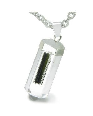 Brazilian Amulet Crystal Point Rock Quartz Rough Black Tourmaline Dipped Silver Pendant Necklace