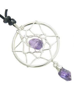 Brazilian Amulet Amethyst Crystal Dreamcatcher Lucky Charm Healing Necklace