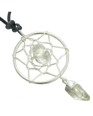 Brazilian Amulet Rock Quartz Crystal Dreamcatcher Lucky Charm Pendant Necklace