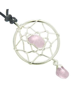 Brazilian Amulet Rose Quartz Dreamcatcher Lucky Charm Love Pendant Necklace