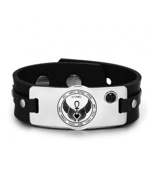 Archangels 12 Guardian Angels Wings Heart Ankh Amulet Black Simulated Onyx Leather Bracelet