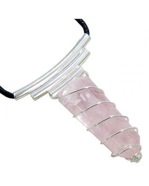 Brazilian Lucky Crystal Point Wired Cage Terminated Rose Quartz Gemstone Love Amulet Necklace