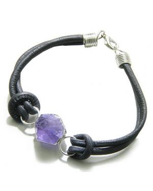 Brazilian Lucky Crystal Point Amethyst Gemstone Dipped in Silver Genuine Leather Bracelet