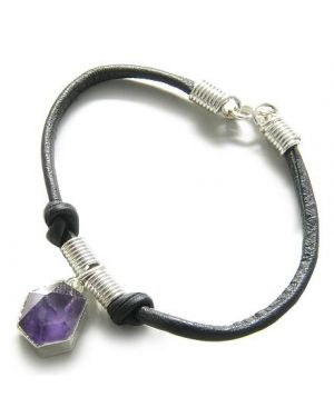Brazilian Lucky Charm Crystal Point Amethyst Gemstone Dipped in Silver Genuine Leather Bracelet