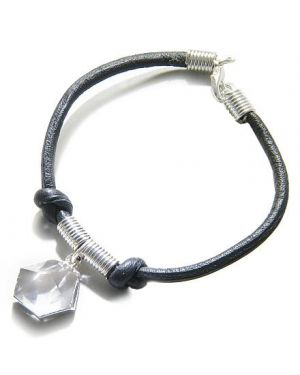 Brazilian Lucky Charm Crystal Point Rock Quartz Gemstone Dipped in Silver Genuine Leather Bracelet