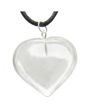 Brazilian Crystal Puffy Heart Evil Eye Protection Rock Quartz Gemstone Lucky Charm Pendant Necklace