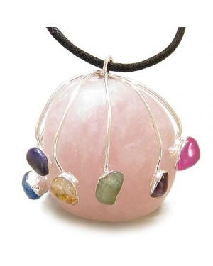 Brazilian Healing Crystal Charm Large Tumbled Rose Quartz with Multi Gemstones Pendant Necklace