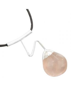 Brazilian Lucky Charm Love Amulet Crystal Tumbled Rose Quartz Gemstone Wavy Necklace