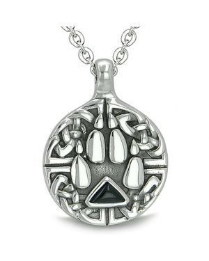 Amulet Celtic Shield Knot Wolf Paw Protection Charm Magic Triangle Energy Onyx Pendant Necklace