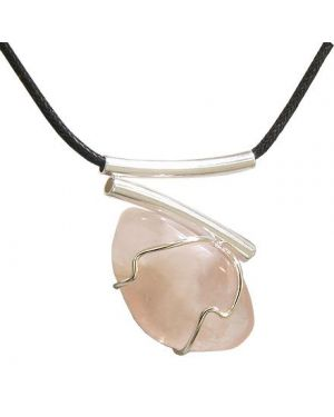 Brazilian Lucky Charm Love Amulet Tumbled Rose Quartz Crystal V Style Tubes Necklace