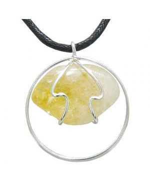 Brazilian Lucky Charm Business Attractor Amulet Tumbled Citrine Crystal Eternity Circle Necklace