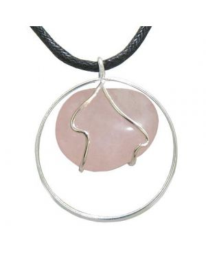 Brazilian Lucky Charm Love Amulet Tumbled Rose Quartz Crystal Eternity Circle Necklace