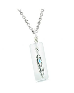 Handcrafted Sea Glass Tag with Cute Arrowhead Shaped Feather Lucky Charm Mist White 22 Inch Necklace